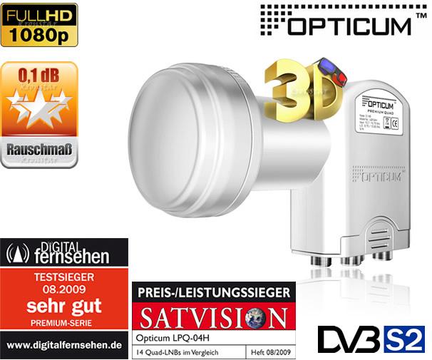4x QUAD LNB Opticum 0,1dB TESTSIEGER Quattro Switch Full ...